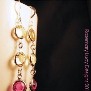 3 or 4 drop Swarovski sterling earrings